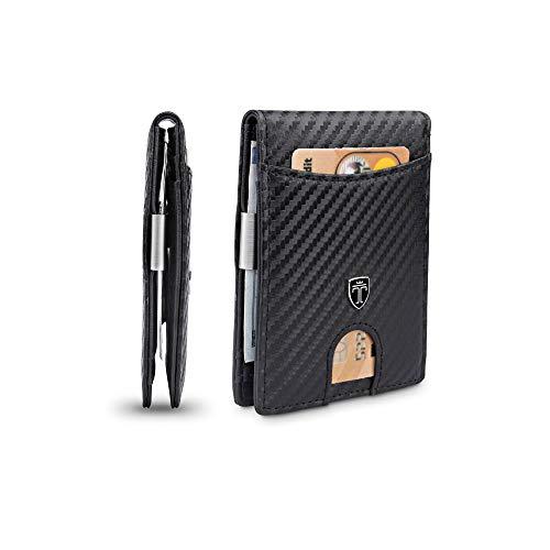 TRAVANDO Slim Wallet with Money Clip SEATTLE RFID Blocking Card Mini Bifold Men (Carbon Leather, Carbon)