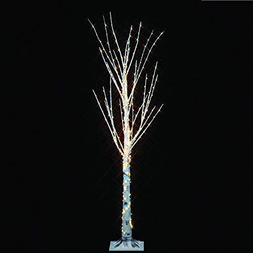 4 FT 360 LED Christmas Birch Tree, Decorated Home, Indoor / Outdoor Xmas Tree with 360 LED Warm Lights from Bottom to Top, Stunning Festive Decoration