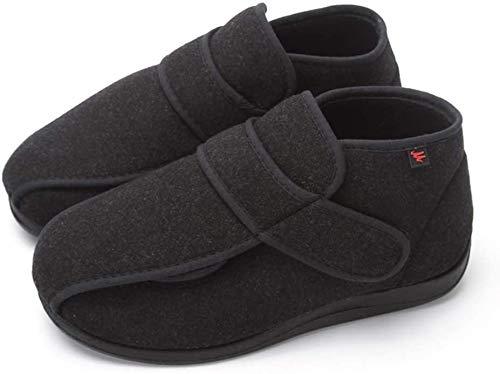 Zapatos Diabéticos De Las Mujeres, Unisex Extra Ancho Zapatilla Ajustable Edema Zapatos Para Exteriores Zapatillas Al Aire Libre Para Personas Mayores Embarazadas,Negro,46