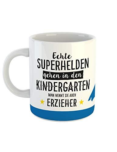 clothinx Geschenk-Tasse Echte Superhelden gehen in den Kindergarten man nennt sie auch Erzieher