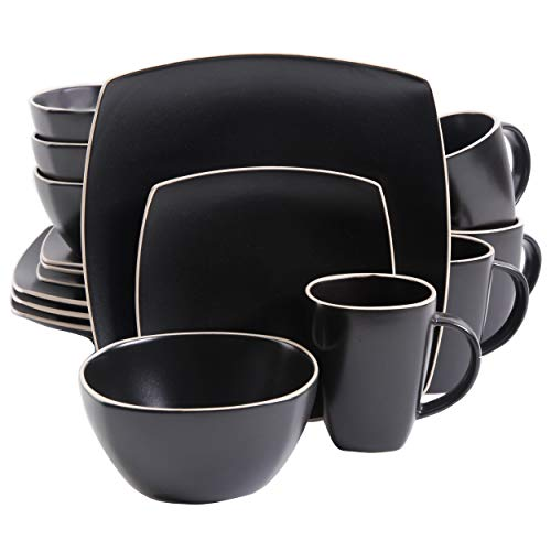 Gibson Elite Dinnerware Set, Soho Lounge Matte Square, Black