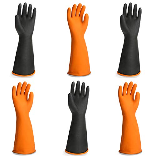 Black Latex Gloves, EnPoint 3 Pairs 17.7 Inches Heavy Duty Laboratory Chemical Latex Gloves for Long-lasting Chemical Protection Strong Acid and Alkali Resist Work Gloves