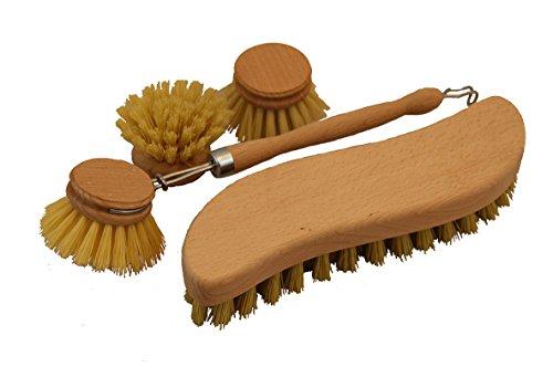 gluecks Shop–Juego de cepillos de madera, Vajilla–Cepillo con 2cabezales de repuesto y–Estropajo, schrubber Cepillo S Forma Fibre Repuesto