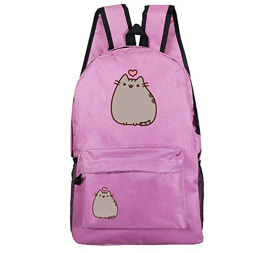 Cartoon cat Pattern Student School Bag Leisure Backpack Outdoor Travel Bag Mountaineering Bag 8-Pink Pattern 36_One Size