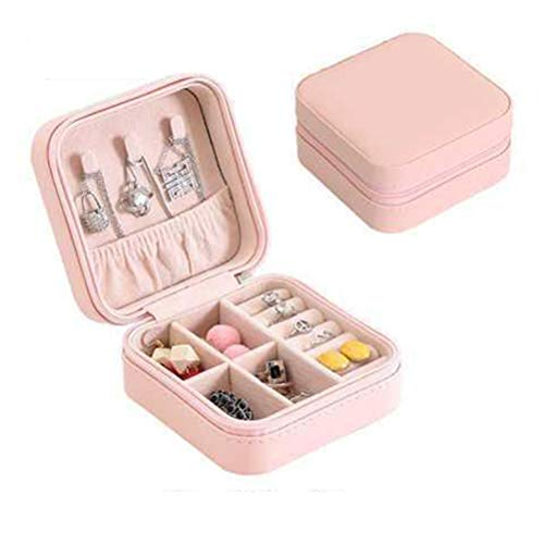 CLFYOU Artificial Leather Jewelry Box Portable Small Travel Jewelry Organizer Holder Display Storage Case For Girls Women Rings Earrings Necklace Bracelets