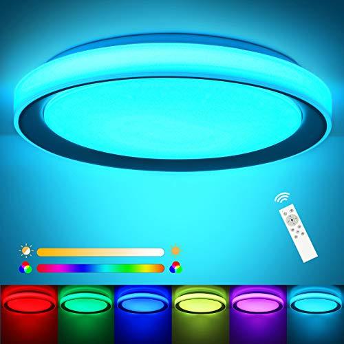 RGB LED Deckenlampe Farbwechsel 3000K-6500K ø51x8cm, OPPEARL 60w 4800LM LED Deckenleuchte Dimmbar Rund Leuchte mit Fernbedienung für Schlafzimmer Büro Esszimmer Küche Balkon