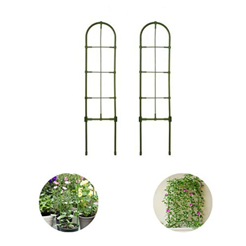 Ecisi Green Trellis for Climbing Plants, Heavy Duty Metal Anti-rust Plant Trellis, Green Sturdy Patio Iron Grid for Vines Vegetables Flowers(2 Pack,5.12x23.62inch)