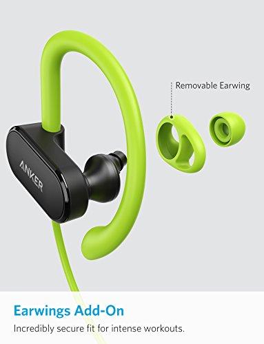 Anker SoundBuds Curve Wireless Headphones, Bluetooth 4.1 Sports Earphones with aptX Audio, Nano Coating, 14H Battery, CVC Noise Cancellation, Headsets (Green)