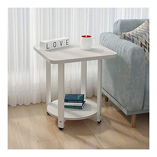 Mesa auxiliar de mesa de centro, mesa auxiliar lateral simple con estante de almacenamiento, mesa de sofá con patas metálicas pequeñas de 2 niveles, gabinete de escritorio de MDF para sala de estar,