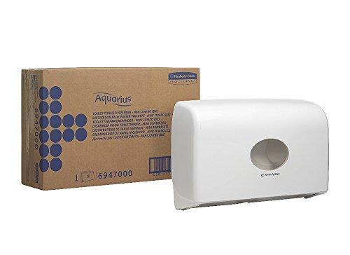 AQUARIUS* dubbele rollendispenser voor Jumbo Toilet Tissue Mini wc-papier (art.nr. 6947) - wit