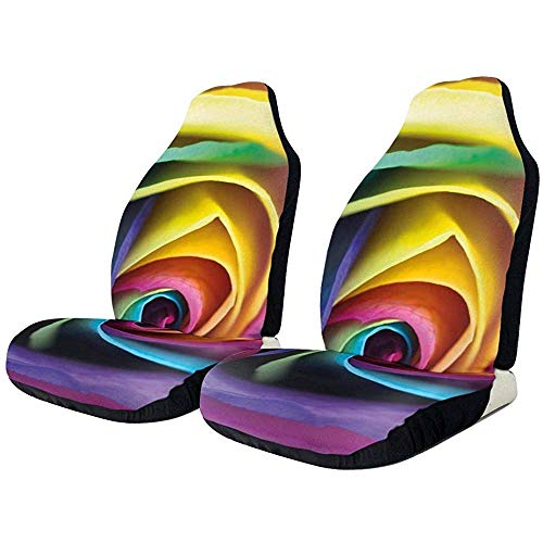 XZfly Fundas de asiento de coche 1PCS Colorful Rainbow Rose Flower Pro