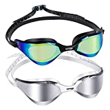 Swimming Goggles 2 Pack Mirrored Swim Goggles Anti Fog UV Protection No Leaking with Watertight Panoramic Curved Comfortable Frame Triathlon Goggles Adult Swimming for Men Women Youth 10+ Years Kids