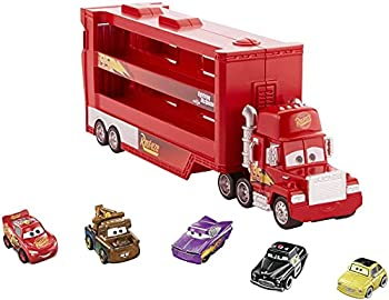 Disney Cars Toys and Pixar Cars Mack Mini Racers Hauler with 5 Miniature Metal Vehicles Lightning McQueen'S Transporter Birthday Gift for Kids Ages 4 Years and Older GWN55