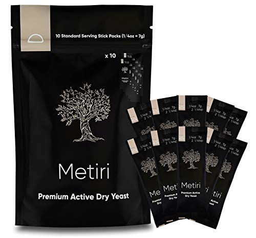 Metiri Foods Premium Active Dry Yeast - One Pouch Includes 10 Standard Serving Stick Packs (7g = 1/4 oz per stick pack)