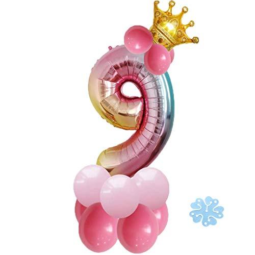 SNOWZAN 17pcs Luftballon 9.Geburtstag Rosa Mädchen 9Jahr Happy Birthday 9 Folienballon Nummer Zahl 9 Riesen Bunt Folienballon Zahlen Luftballon9.Regenbogen Ballon krone Helium Ballon Baby Dusche Party