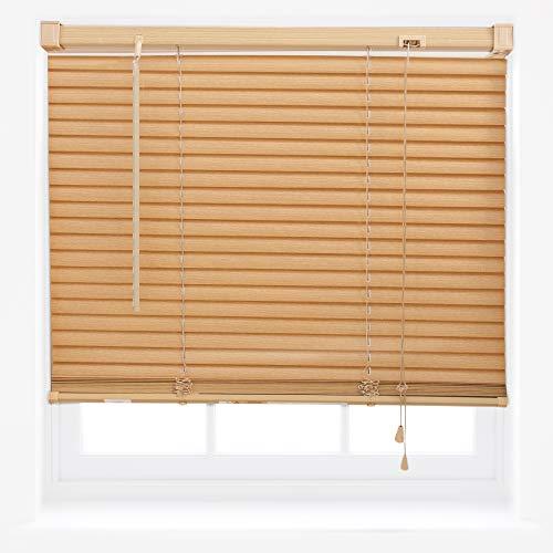 FURNISHED Jalousie aus PVC Kürzbar Fenster Heim Büro Rollo Neu - Teak 90 x 150 cm