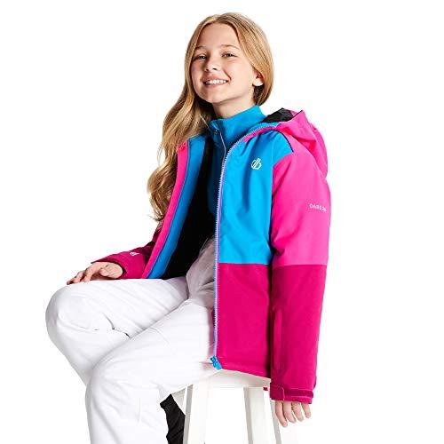Dare 2b Unisex Kinder Aviate Waterproof Breathable High Loft Insulated Reflective Ski Snowboard Jacket with Snowskirt and Elasticated Hood Jacke, Fuchsia/Atlantic Blue, 33 cm