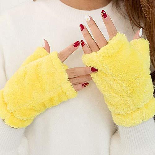 GUANAI Handschuh Mädchen-Faux-Kaninchenfell-Handgelenk-Fingerlose Handwinter-Handschuh-Wärmerer Schirm-Handschuh-Gelb A