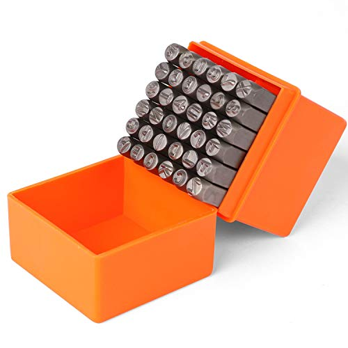 HORUSDY 36-Piece 6mm Number & Capital Letter Stamp Set (A-Z & 0-9) Punch Perfect for Imprinting Metal, Plastic, Wood, Leather.1/4 (6mm)