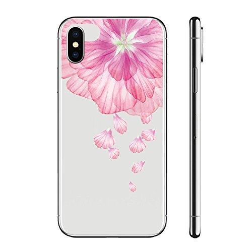 CrazyLemon Kreativ Hülle für iPhone XR, Transparent Klar Weich TPU Silikon Handyhülle Vollschutz Schutzhülle Cover Case für iPhone XR - Rosa Blume
