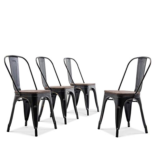 BELLEZE Set of 4 Wood Seat Cafe Bar Stool Modern Style Metal Industrial Stackable Bistro Dining Chairs Antique Black