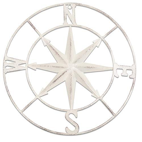 YiYa Distressed Metall kompass Wanddekoration Nautische Dekoration Schlafzimmer Wohnzimmer Garten Büro Wandbehang Strand Thema Home Dekoration (Weiß)