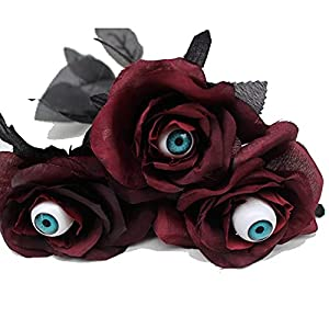 halloween 6 stem black roses with eyeballs black flowers with stem artificial rose bouquet fake rose flowers for halloween party arrangements home wedding decor 15.3in (red) silk flower arrangements