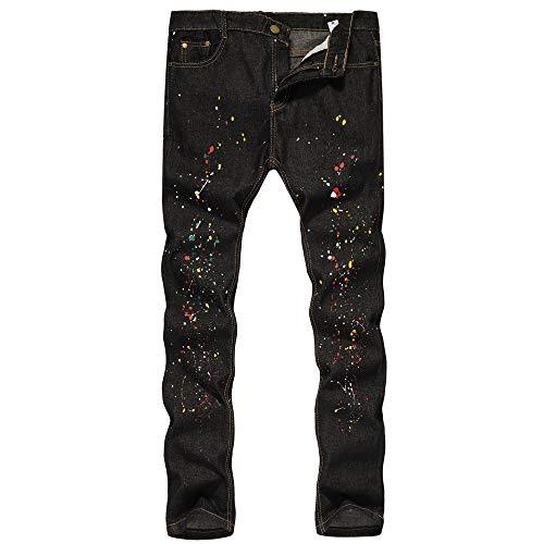 Alikeey ✿ Werkbroek, denim, katoen, vintage, gewassen, voor heren, jeans, bedrukt, vintage, wash hip hop work broek