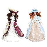 DFJU 2 Piezas casa de muñecas muñeca de Porcelana en Miniatura Dama Victoriana en Vestido Figuras de Personas Modelo de exhibición