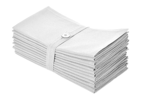 COTTON CRAFT Classic Cotton Set of 12 Pure Cotton Solid Color Dinner Napkins, 20 inch x 20 inch, White