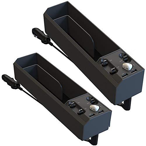YGTMV 2021 Almacenamiento De Espacio De Asiento del Automóvil De La Caja, 2 Pack con Bluetooth Multifuncional, Cargador Dual USB Multifunción Mobile Mobile Box