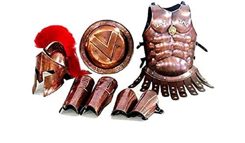 Casco espartano 300 con armadura muscular de cobre conjunto pierna y brazo guardia disfraz de Halloween