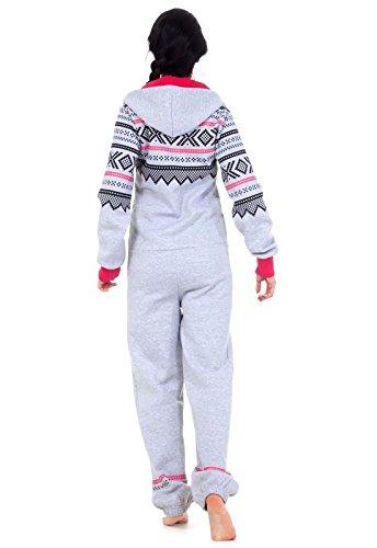 Loomiloo® Jumpsuit Onesie Overall als Freizeitanzug Hausanzug Trainingsanzug Pyjama für Damen und Herren (M/L, Hellgrau) - 2
