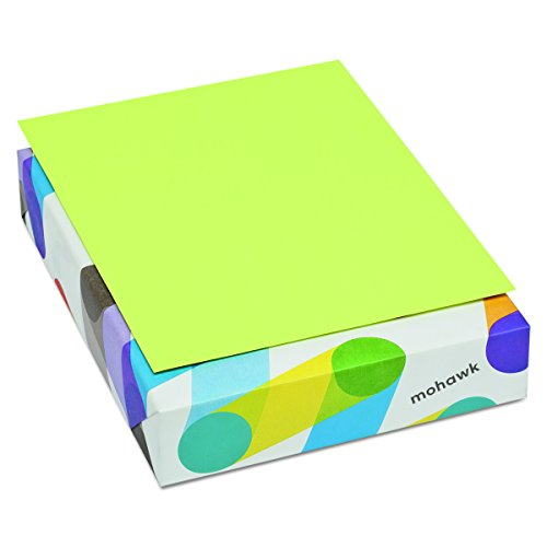 Mohawk 101261 BriteHue Multipurpose Colored Paper, 20lb, 8 1/2 x 11, Ultra Lime, 500 Sheets