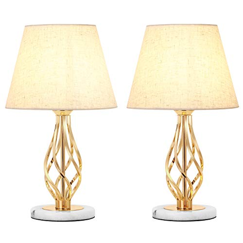 Table Lamps Set of 2 Bedside Lamps with White Shades Marble Base Nightstand Lamps for Bedroom Living Room Gold
