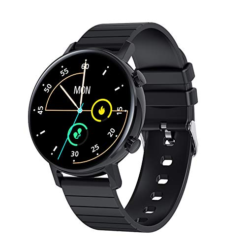 FMSBSC Smartwatch Pantalla de 1.3 Pulgadas Reloj Inteligente con Pulsómetros para Mujer Hombre, Pulsera de Actividad Inteligente con Monitor de Sueño/Oxigeno Contador de Caloría Cronógrafo,Negro
