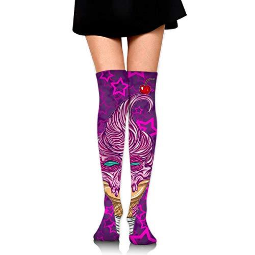 Calcetines para mujer con cuello alto hasta la rodilla y calaveras de helado, vestido de tubo largo, leggings de fútbol, medias de compresión