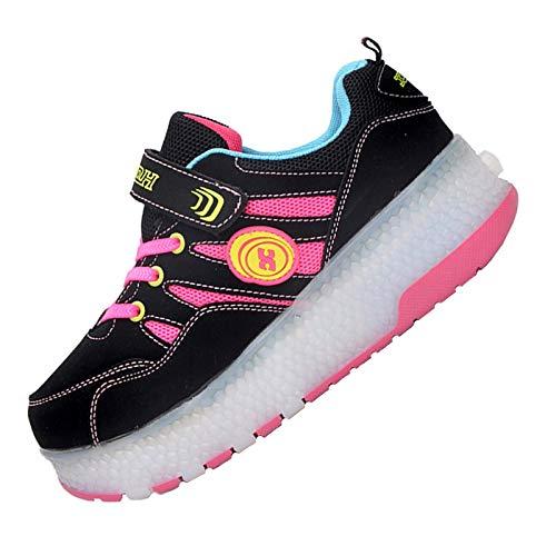 WXBYDX LED Rollschuh Schuhe Kinder LED Lichter Blinken Einstellbare Räder Technologie Skateboardschuhe Gymnastik Running Turnschuhe Für Jungen Mädchen,Rosa, Blau pink-33