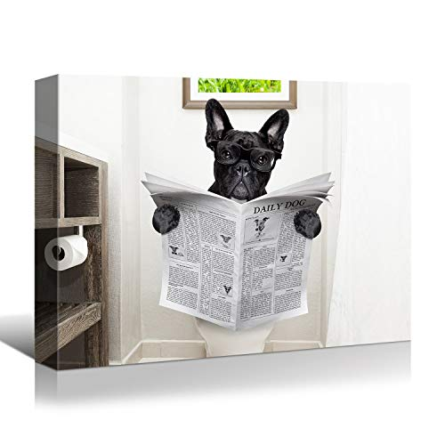 Looife Funny Animals Canvas Wall Art, 18x1.5x12 Inch Dog Read Newspaper on Toilet in Bathroom Picture Giclee Prints Wall Decor, Artwork Collection, Ready to Hang