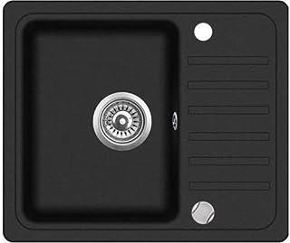 VBChome Spüle 56 x 46 cm schwarz Granit Spülbecken Einzelbecken Küche Einbauspüle Verbundspüle Küchenspüle gesprenkelt reversibel  Drexexcenter  Siphon Waschbecken