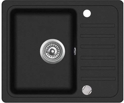 VBChome Spüle 56 x 46 cm schwarz Granit Spülbecken Einzelbecken Küche Einbauspüle Verbundspüle Küchenspüle gesprenkelt reversibel + Drexexcenter + Siphon Waschbecken