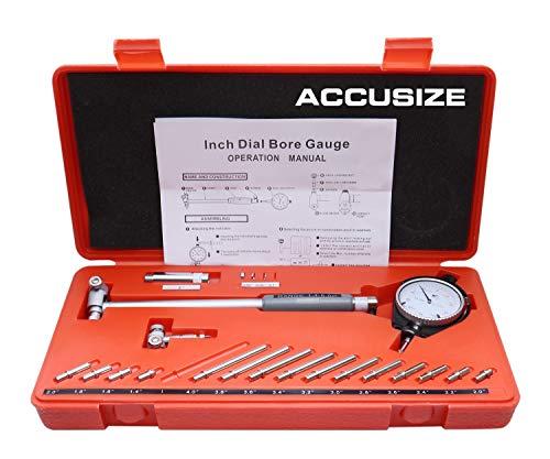 Accusize Industrial Tools Dial Bore Gauge Set, 1.4-6 inch Measuring Range, 0.0005'' Graduation Interval, Ee20-1406
