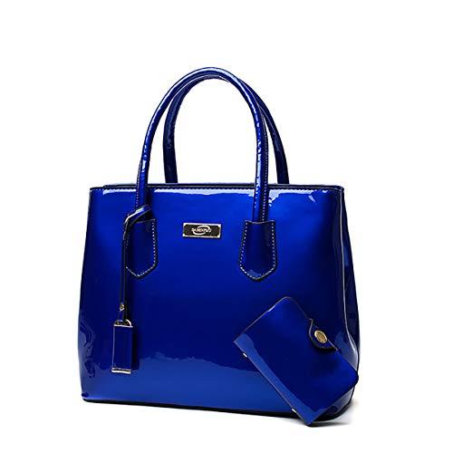 Tisdaini® Bolsos de Mano Mujer Bolsos Bandolera Moda Charol Bolsos Totes Shoppers y Bolsos de Hombro Azul