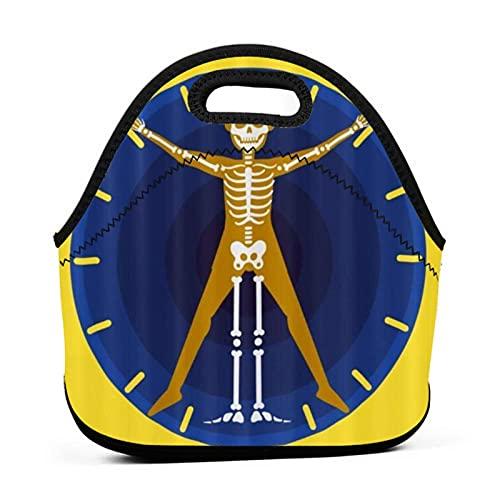 ADONINELP Bolsa de almuerzo portátil,bolsa Bento,reloj esqueleto de calavera,paquete de neopreno con cremallera para la escuela,el trabajo,la oficina,el bolso de viaje