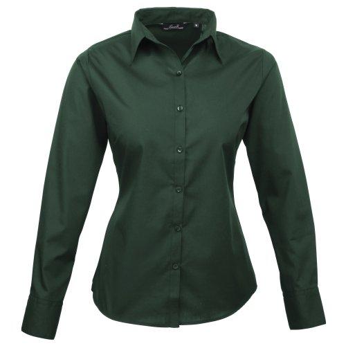 Premier Frauen/DamenPopeline Bluse / Schlichtes Arbeitshemd lang�rmelig (48)(Size:20) (Flaschengr�n) DE 48,Flaschengr�n