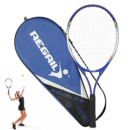 Raqueta de Tenis, zootop Raqueta de Tenis para niños Adultos Raqueta de Tenis Junior de aleación de Aluminio de 27 Pulgadas con Estuche portátil, para Deportes, Entrenamiento (Azul Negro)