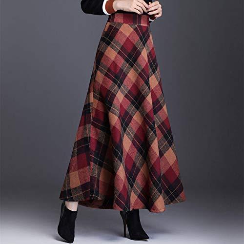 Astemdhj Falda Escocesa Scottish Skirt Otoo Invierno Cintura Alta Paraguas Escocs Maxi Falda Mujer Casual Bolsillo Inglaterra Rejilla Falda A Cuadros Falda Larga L Redgrid