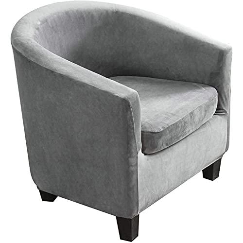 Funda para Silla De Bañera,Cabriolet Butacón Chesterfield Protección Butaca Terciopelo Fundas De Sillón para Salón Funda De Sofá Protector Muebles (Gray)