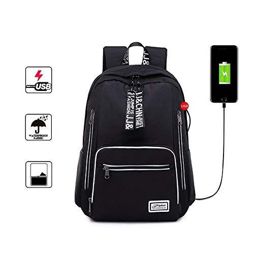 Sac à dos étudiant, sac à dos de grande capacité de voyage étanche en plein air avec interface de charge USB, sac de mode décontractée pour étudiant, sac à dos pour ordinateur portable de 16 pouces