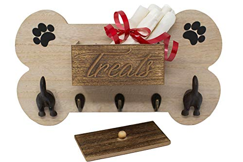 FoxCarr Wall Mount Dog Leash Holder with Key Holder Hooks, Leash Hanging Dog Tails, and Treat Holder Box Made of Quality Material. This Dog Accessories can Help with Home Organization and Dog Leash